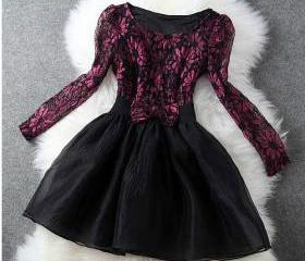 Embroidery Lace Bow Dress