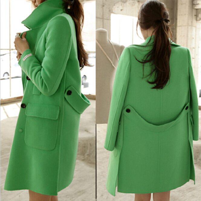 Green Woolen Pea Coat Women Winter Wool Jacket Elegant Blazer