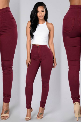Stitching high-waisted skinny trousers and jeans zy