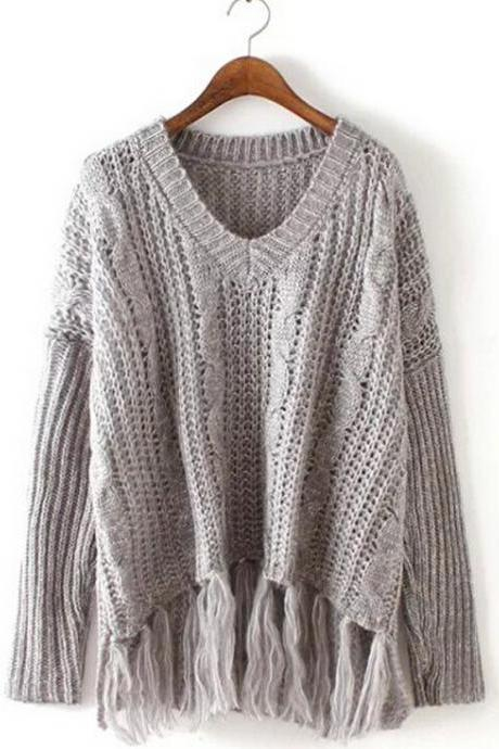 Women'S Fashion Tassel Loose Knit V-Neck Pullover Sweater