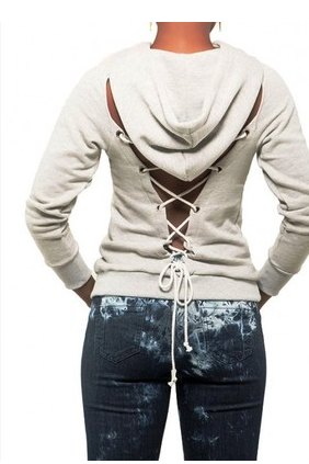 Lace-up back hooded long-sleeved fleece YX