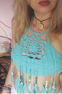 The Knitting Tassel Bra Bikini YY