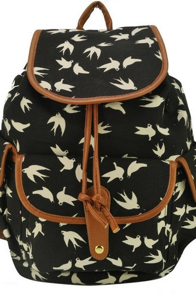 Bird Print Graphic Canvas Backpacks for Girls
