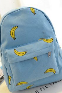 Banana Print Canvas Backpack