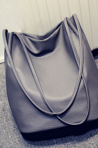 Pebbled Faux Leather Bucket Bag