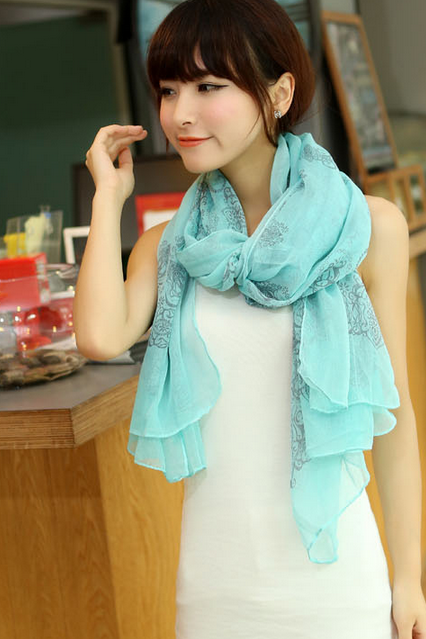 Blue and white porcelain female long scarf scarves shawls and long neck