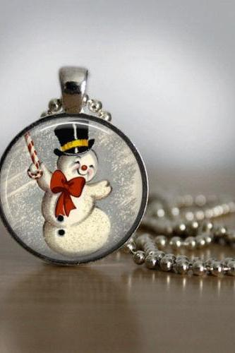 Christmas Necklace Christmas Jewelry Glass Tile Necklace Snowman Jewelry