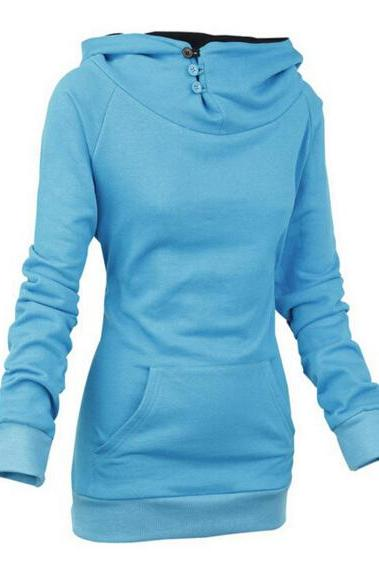 FREE SHIPPING Fall/Winter Long Sleeve Blue Hoodie Sweater Sweatshirt
