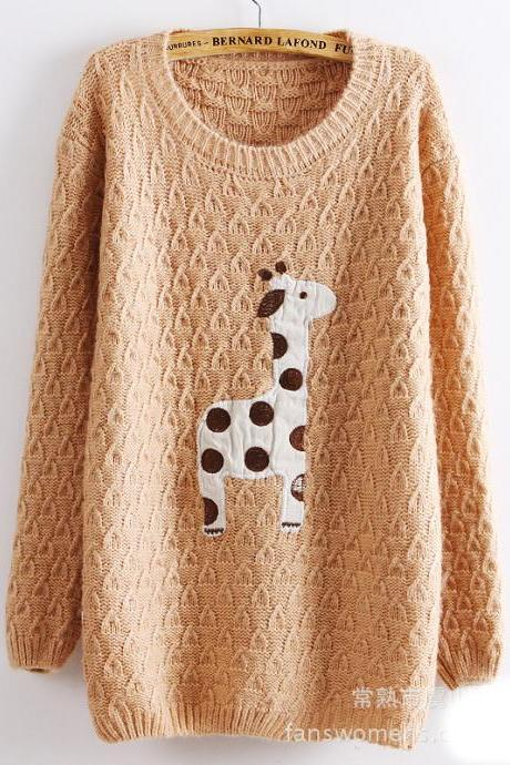 Cute Giraffe Loose Pullover Sweater