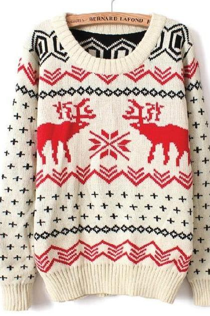 Fawn Christmas sleeved big yards sweater