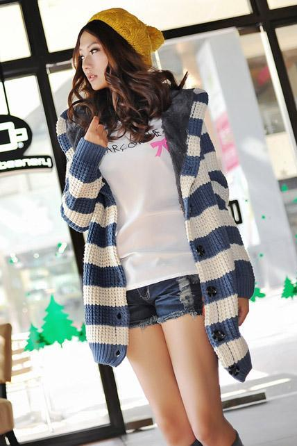 Fashion Matching Striped Long Pattern Cardigans with Hat - Blue