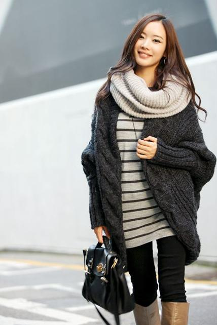 Vogue Slit Design Unclosed Beige Batwing Sleeve Cardigans - Grey