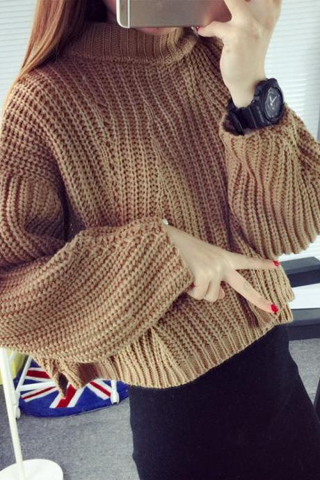 Autumn Winter Fashion Women's High Neck Batwing Sleeve Casual Knitted Pullover Jumper One Size