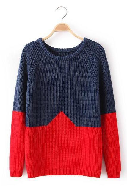 Christmas Red Color Block Round Neck Casual Street Women Fashion Vintage Knitted Jumper Sweater Pullover