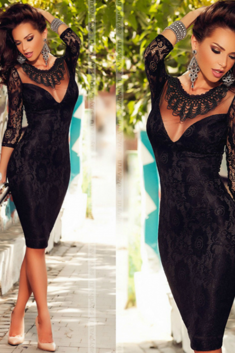 Hollow out lace stitching lace dress sexy dress