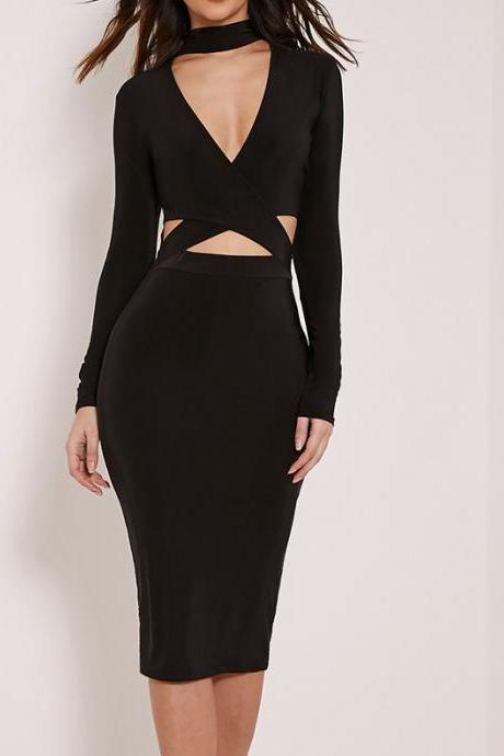 V-neck long-sleeve neck sexy dress
