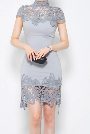 Sexual sexy openwork lace stitching Slim and long sections package hip dress women